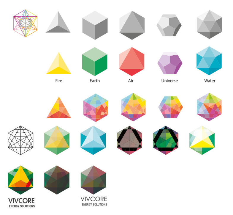 Vivcore Energy Solutions branding development sketches